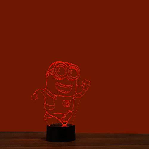 Luz Nocturna 3D Minions 2 Lámpara de noche colorida 3D Interfaz USB Lámpara visual creativa Interruptor táctil Lámpara de arte