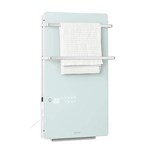 KLARSTEIN Hot Spot Crystal Flow - radiateur 2 en 1,convecteur, sèche-Serviettes Infrarouge,élément Chauffant PTC, 45x82 cm,jusqu'à 36 m², 2000 W,Thermostat: 5-40 °C,écran LED,télécommande, Blanc