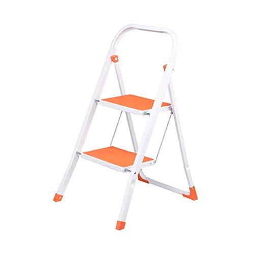 GG.S Taburete De Escalera De Metal De 2 Peldaños Plegable For El Hogar con Reposabrazos Escalera De Peldaño Acolchada Antideslizante (Color : Orange)