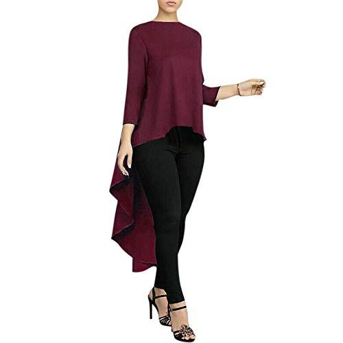 Huaheng Vrouwen Lange Mouw Shirt Asymmetrische Waterval Tops Terug Lange Staart Blouse 4XL Wijn Rood