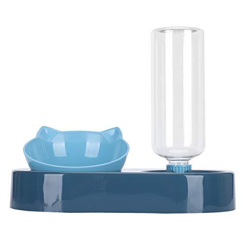 Cuencos para Mascotas 2 en1 Dispensador de Agua automático, comedero Doble para Perros sin derrames Ahorre Espacio Bebedero para Mascotas Cuencos de Agua para Perros pequeños(Azul)