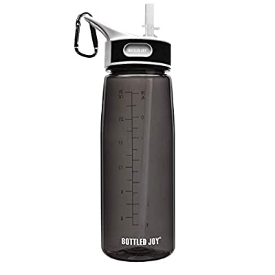 BOTTLED JOY Sports Water Bottle with Straw, BPA-Free Leak Proof Wide Mouth Drinking Bottle 27oz 800ml High Capacity for Running, Excerise, Hiking, Cycling