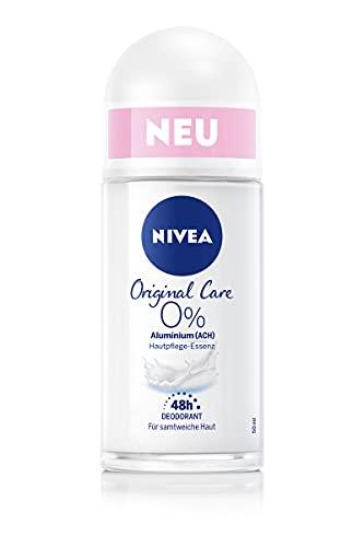 NIVEA Original Care Deo Roll-On (50 ml), Deo-Roller ohne Aluminium (ACH) und Alkohol brennt nicht nach der Rasur, Deodorant mit Hautpflege-Essenz