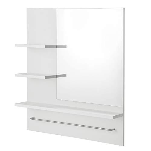 eSituro SBP0057 Spiegelschrank Badspiegel Hängeschrank Wandschrank Badschrank mit Ablagen Bad Flur Wohnzimmer Weiß 60x13x70cm
