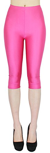 dy_mode Glanz Capri Leggings Damen Bunte Sommer Tanz Leggings Capri glänzende 3/4 Leggins Shiny One Size - 3LG121 (One Size, 3LG121-Pink)