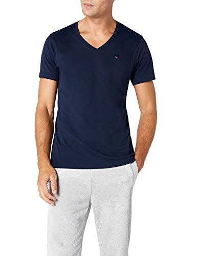 Tommy Hilfiger - Original Vn Knit S/S - T-Shirt - Homme - Bleu (BLACK IRIS-PT) - Medium