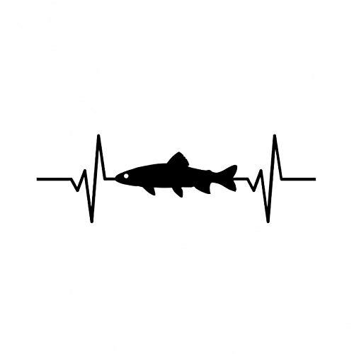 DSRLO Autoaufkleber 17,8 cm * 5,7 cm Vinyl Autoaufkleber Forelle Fisch Herzschlag Aufkleber Schwarz/Silber