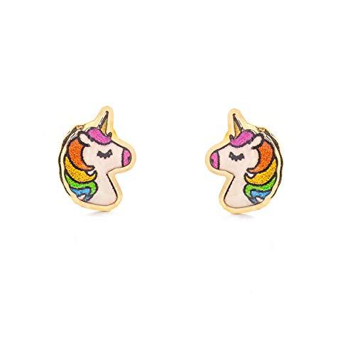 Orecchini per bambini unicorno smaltato - oro giallo 9k (375)