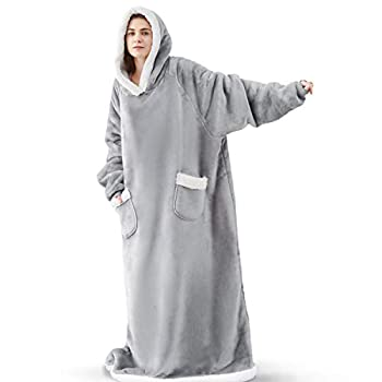 Bedsure Long Wearable Blanket Sherpa Blanket Hooded StandardBlanketSweatshirtwithDeepPocketsandSleevesforAdults