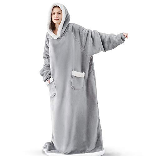 Bedsure Long Wearable Blanket, Sherpa Blanket Hooded, StandardBlanketSweatshirtwithDeepPocketsandSleevesforAdults