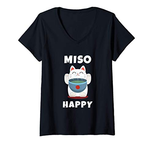 Womens Miso Happy Cute Japanese Food Anime Cat Gift Miso...