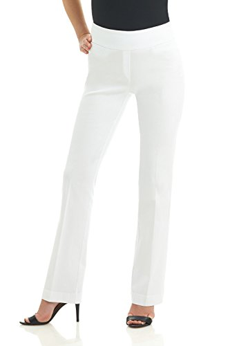 Rekucci Women's Ease into Comfort Boot Cut Pant (4,White)