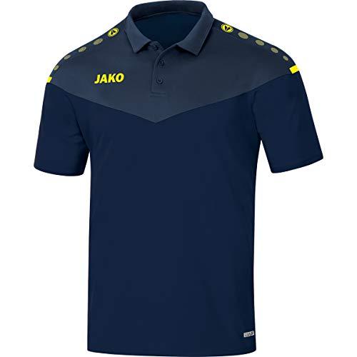 JAKO Polo pour Homme, Taille M, Marine/Bleu Foncé/Jaune Fluo