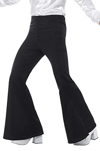 Smiffys Pantaloni a zampa d'elefante, da uomo, neri
