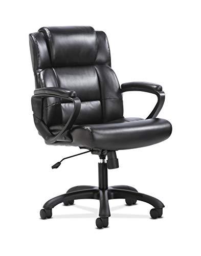 HON BSXVST305 Sadie Leather Executive Computer/Office Arms-Ergonomic Swivel Chair (HVST305), Black