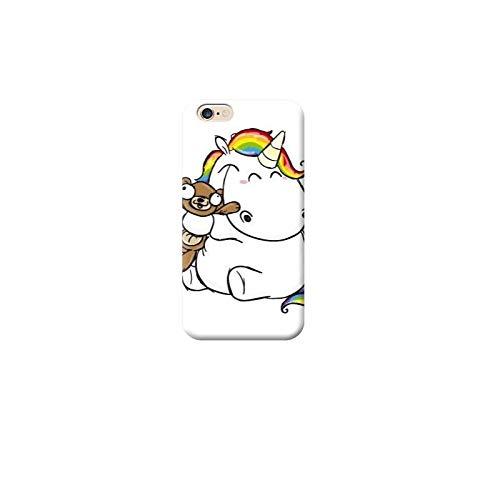 TheBigStock Cover Custodia per Tutti Modelli Apple iPhone x 8 7 6 6s 5 5s Plus 4 5c TPU 4 - AH45 Unicorno abbraccia Orsacchiotto, iPhone 7 Plus