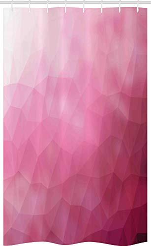 ABAKUHAUS Rosa Schmaler Duschvorhang, Shades Fragmente Gradient, Badezimmer Deko Set aus Stoff mit Haken, 120 x 180 cm, Magenta