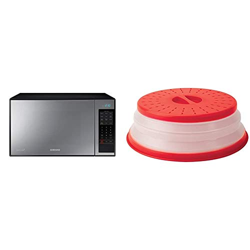 """Samsung1.4 cu. ft. Countertop Grill Microwave Oven with Ceramic Enamel Interior, Black Mirror Finish & Tovolo Vented Collapsible Microwave Food Cover With Easy Grip Handle, 10.5"""" Round, Red"""
