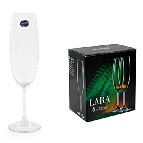 Bohemia Lara - Set de 6 copas de champán de cristal 220...
