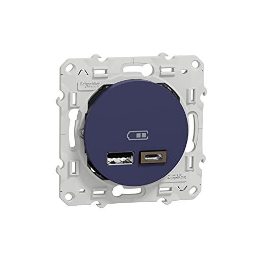 Schneider Electric S550401 Odace - Conector USB doble tipo A+C, 5 V CC, 2,4 A