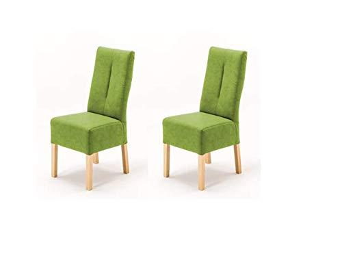 Robas Lund Stühle 2er Set Grün Kiwi, Küchenstuhl mit Kunstlederbezug, Stuhlbeine Massivholz Buche, Stuhl Fabius