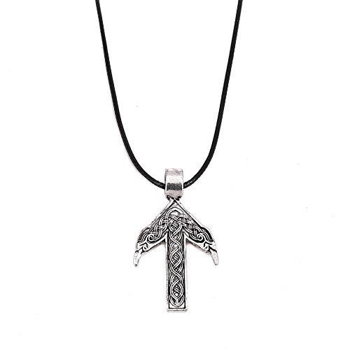 NOLOGO Collar Colgante Vikingo Collar Colgante Vikingo Distinguido (Color : Ancient Silver)