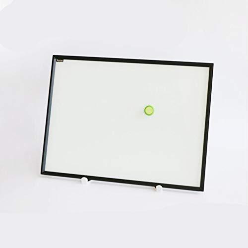 SRMTS Vidrio de Marco Negro con Soporte pequeño reescritura de Cristal de Escritorio pequeño Conjunto de Pizarra de Vidrio,A