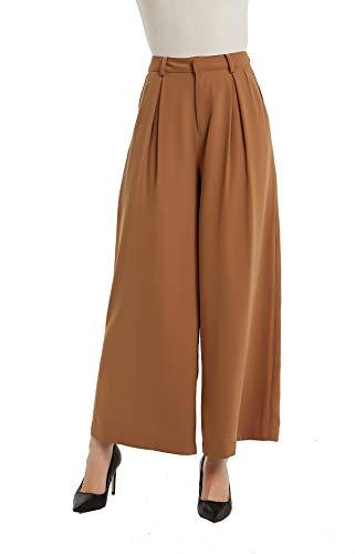 Tronjori Women High Waist Casual Wide Leg Long Palazzo Pants Trousers(XS, Brown Sugar)
