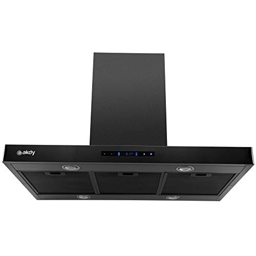 AKDY 36 in. 343 CFM Convertible island Mount Range Hood in Black Stainless Steel With Lights