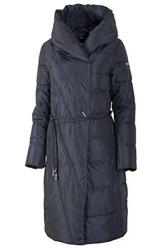Grimada 18030 Damen Wintermantel Steppmantel Jacke mit Kapuze (46, blau)