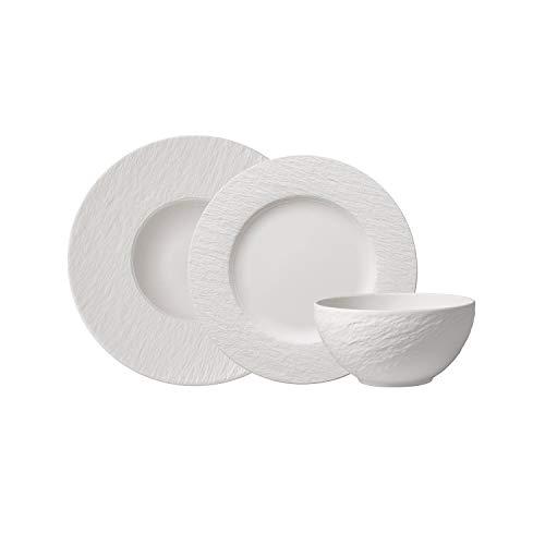 Villeroy & Boch Manufacture Rock Set básico Juego de vajilla, Platos Llanos Porcelana Premium, Blanco, 6 piezas