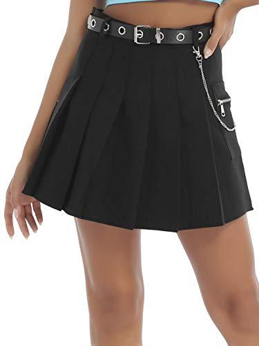 winying Damen Faltenrock High Waist Minirock mit Ledergürtel und Metallkette Anhänger Sommer Herbst Winter Freizeitrock Casual Outfits Schwarz L