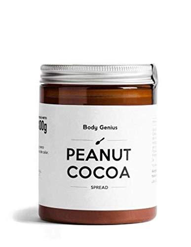 BODY GENIUS Peanut Cocoa. Crema de cacahuete y cacao. 300g. Alta en Proteína, Natural, Sin Azúcar Añadido, Sin Aceite de Palma, Edulcorada con Stevia. Hecho en España.