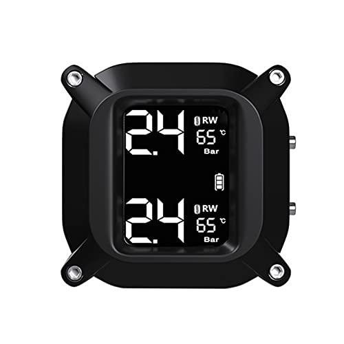 CAIBING ZHUJUNWEN Motocicleta Impermeable Sistema de monitoreo de presión de neumáticos de Tiempo Real TPMS LCD inalámbrico Pantalla Sensores externos Moto TPMS (Color : Black)