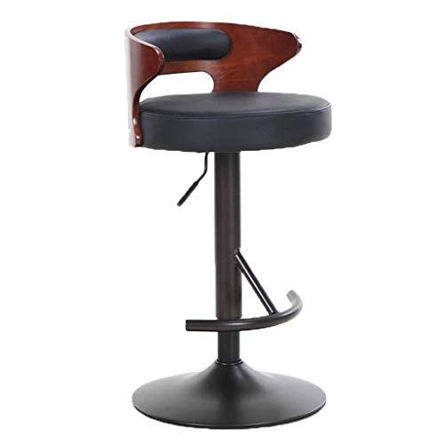 YB Swivel Barstool Adjustable Bar Stools, Pu Leather Bar Stool Adjustable Breakfast Swivel Stool Kitchen High Stool with Chair Back (Color : A)