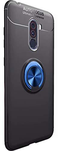Tianqin Xiaomi Pocophone F1 Cover, Ultra Sottile Leggera TPU Antiurto Protectionn Stealth Anello Fibbia Compatibile Supporto Magnetico Auto para Xiaomi Pocophone F1 (Nero Blu)