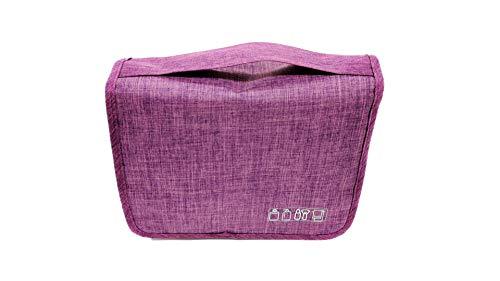 [Chaiclo] 折り畳み 収納バッグ フック付き 化粧品 洗面用具入 収納 出張 トラベル サニタリー 整理 格納 便利グッズ (パープル)