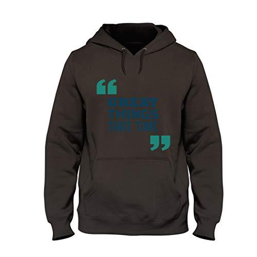 Wild Soul Tees, sudadera con capucha, Great Things Take Time | Cita | Diseño de letras | Logo | Ropa | Línea de ropa Marrón marrón XXL