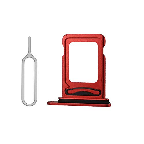 SIM Card Tray Holder Slot with Rubber Waterproof Gasket Replacement incl. Open Eject Pin for iPhone 12 (6.1 inch) (Red, Dual Sim Version)