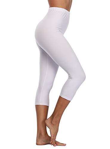 EAST BUND Damen Capri-Leggings, hohe Taille, für Yoga, Workout, ultraweich, dehnbar, Leggings - Weiß - 32/44 DE