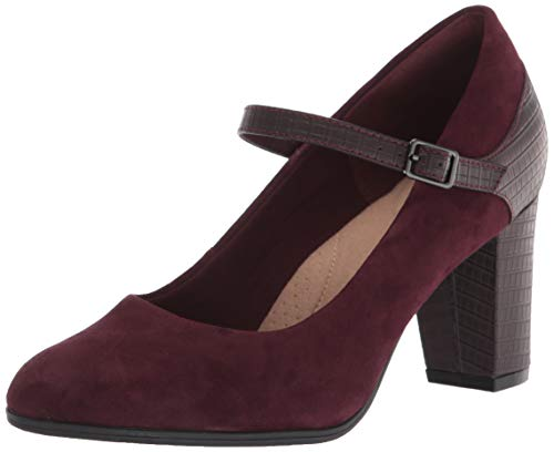 Clarks Women's Alayna Shine Pump, Burgundy Suede/Synthetic Combi, 10