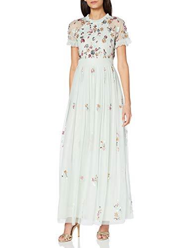 Frock and Frill Damen Embellished Short Sleeve Maxi Dress Cocktailkleid, Mint, 40