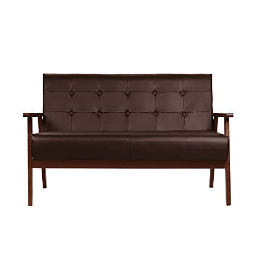 Mid-Century Modern Faux Leather Solid Arm Loveseats Sofa Retro Armrest Loveseat Couch Upholstered Wooden 2-Seat Lounge Chair for Living Room Furniture