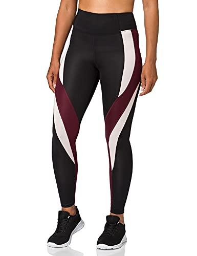 Marca Amazon - AURIQUE Mallas de Deporte Combinadas con Tiro Alto Mujer, Negro (Black/Port/Blush), 36, Label:XS