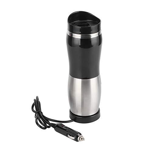 Taza calefactora eléctrica, 50W 400ML Taza calefactora eléctrica portátil 304 Acero inoxidable Auto Botella de taza Reemplazo para beber(DC12V)