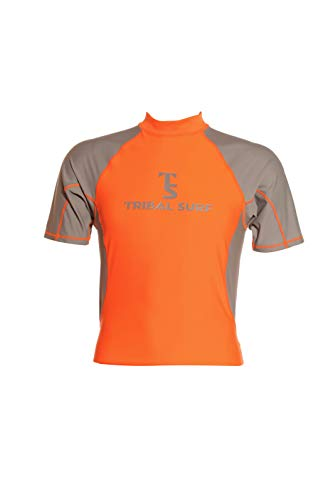 Tribal Surf Men's Rashguards Two-Tone (Choose Color & Size) (Orange/Grey Sleeves, X-Small)