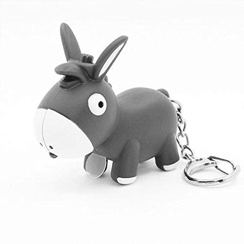 Nwihac Llavero Llavero LED Lindo, Mini Anillo de Llaves de Dibujos Animados de Sonido de Sonido, Juguete para niños Gray Grey