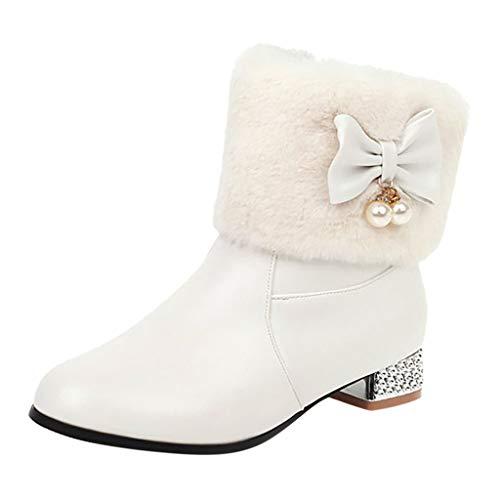 Stiefel Damen Westernabsatz Plüsch Kurzschaft Reißverschluss Stiefeletten mit Perlen Schleifen Winter Warme Damenschuhe Einzelne Schuhe (38 EU, Weiß)