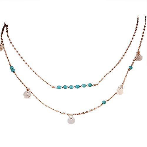 Uticon, collana da donna, con ciondolo a forma di cuore, a forma di foglia multistrato resistente all'usura, idea regalo per feste 14 anni