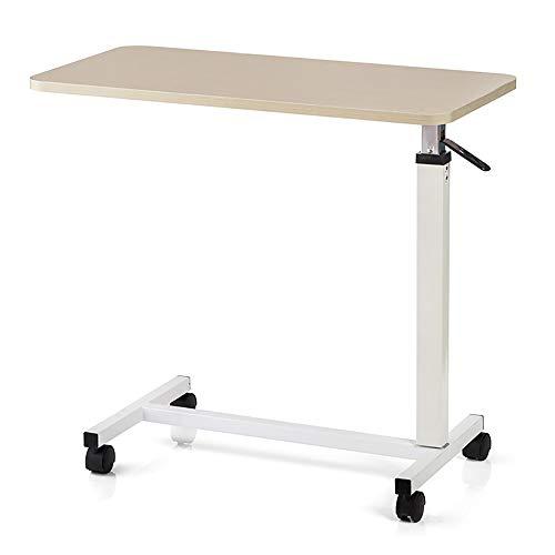 HSRG Overbed Table - Rueda giratoria Rolling Tray Table - Mesita de Noche Ajustable para el hogar, Hospital - Lectura, Desayuno - Acostado en la Cama, Anciano, Ayuda para Pacientes Mayores